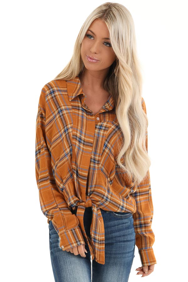 Ginger and Periwinkle Plaid Long Sleeve Top with Self Tie front close up