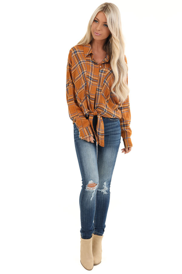 Ginger and Periwinkle Plaid Long Sleeve Top with Self Tie front full body