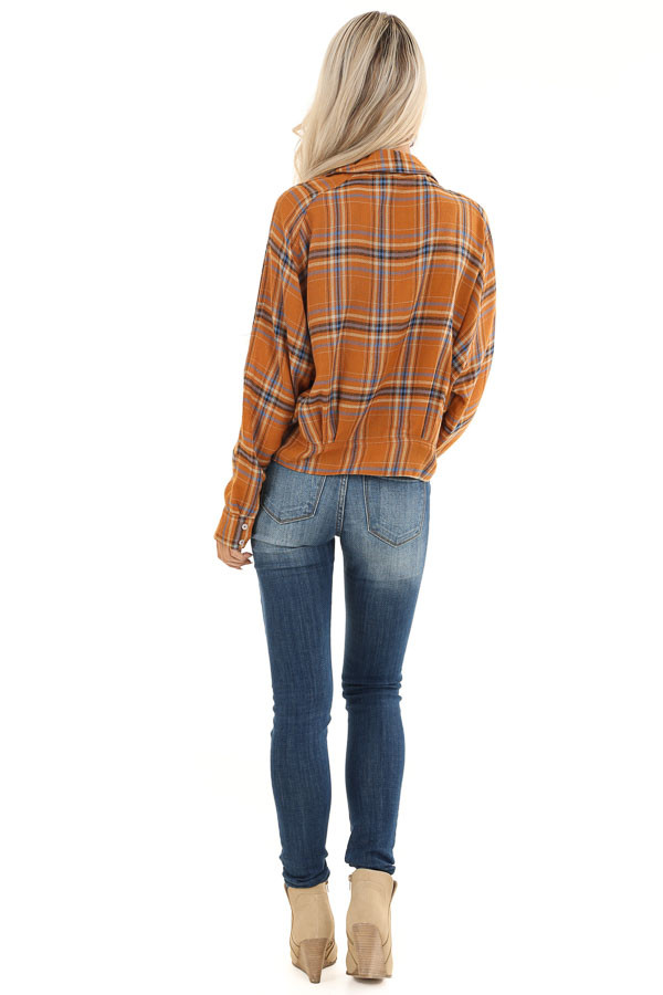 Ginger and Periwinkle Plaid Long Sleeve Top with Self Tie back full body
