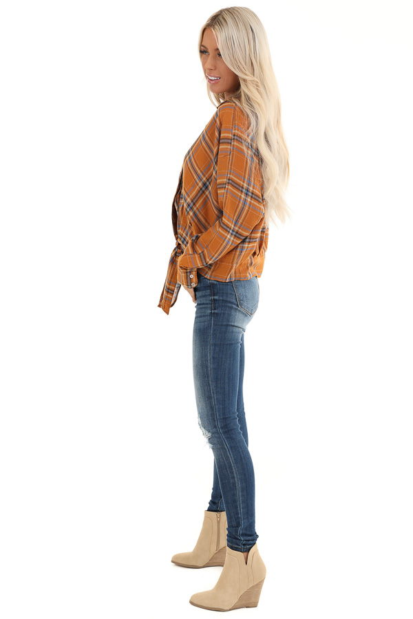 Ginger and Periwinkle Plaid Long Sleeve Top with Self Tie side full body