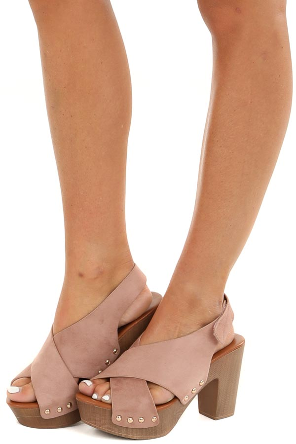 Blush Pink Suede Open Toed Heels with Gold Stud Details front view