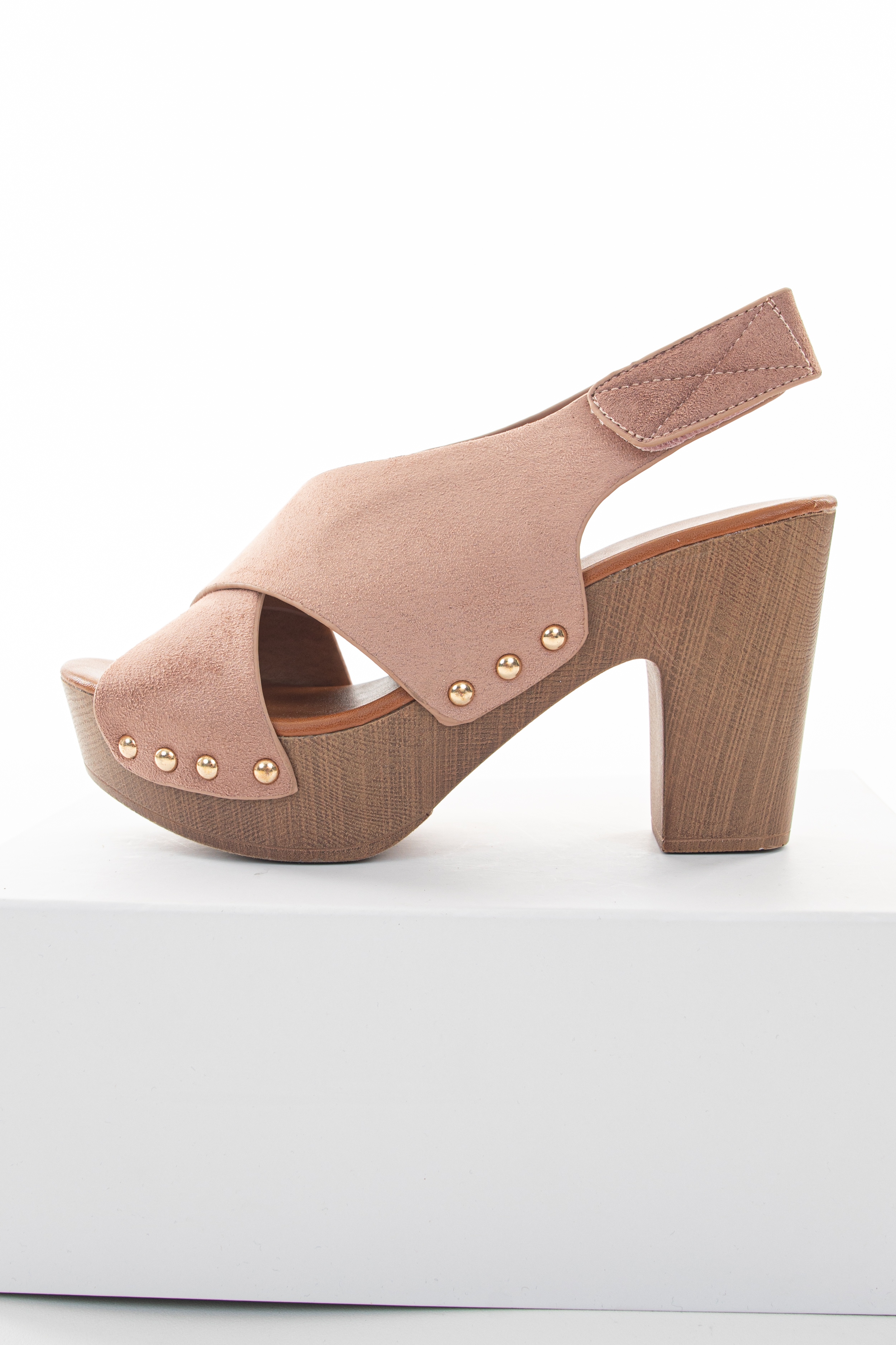 Blush Pink Suede Open Toed Heels with Gold Stud Details
