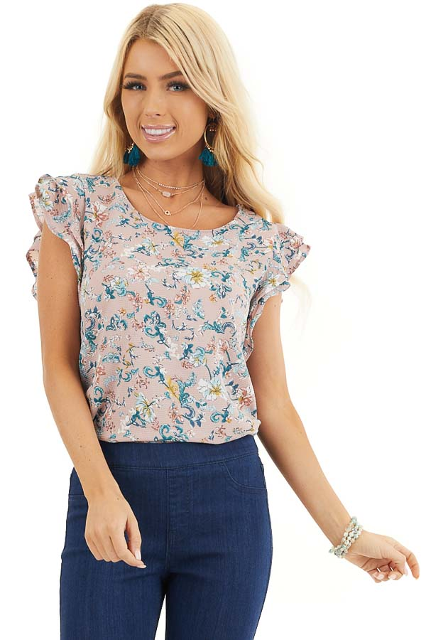 Lilac Floral Round Neck Blouse with Ruffle Sleeves front close up