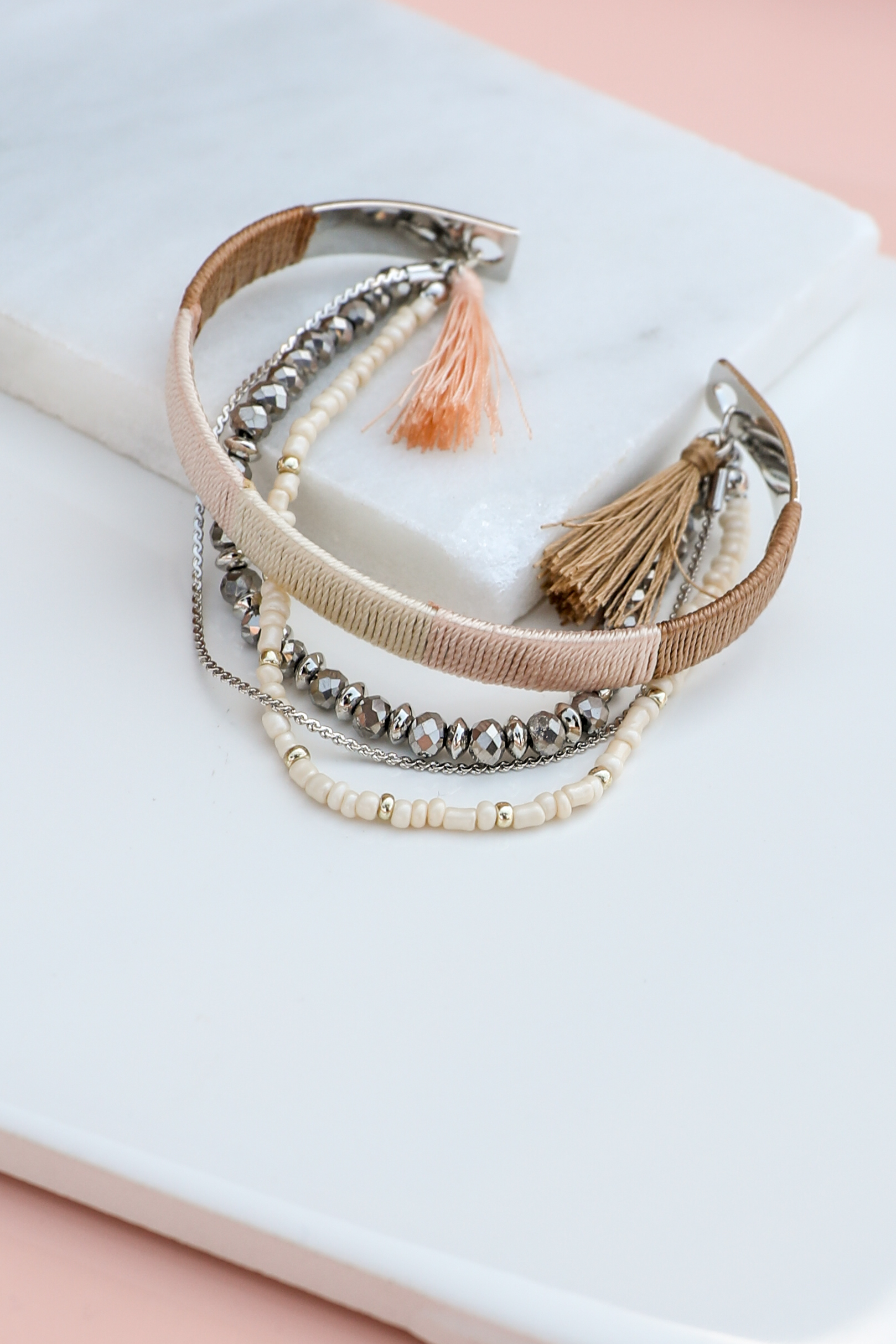 Blush Thread Wrapped Cuff Bracelet with Beaded Details