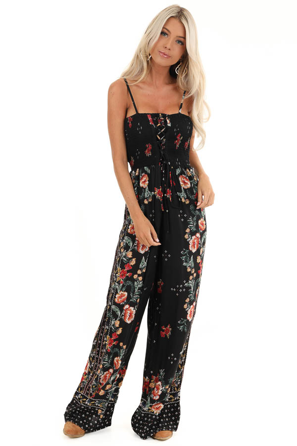 Ink Black Floral Print Jumpsuit with Smocked Lace Up Bodice front full body