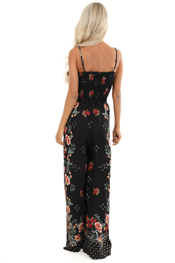 Ink Black Floral Print Jumpsuit with Smocked Lace Up Bodice back full body