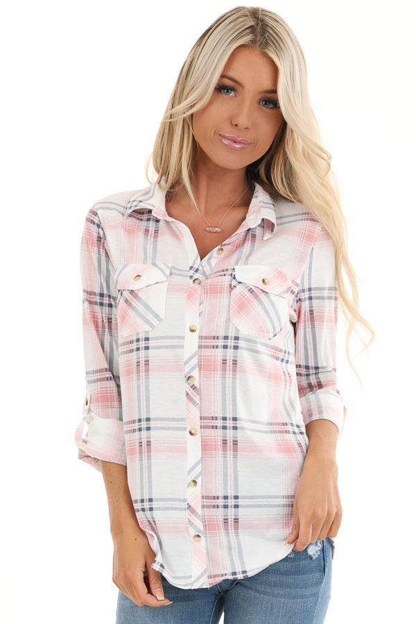 Blush Pink Plaid Button Up Top with Chest Pockets front close up