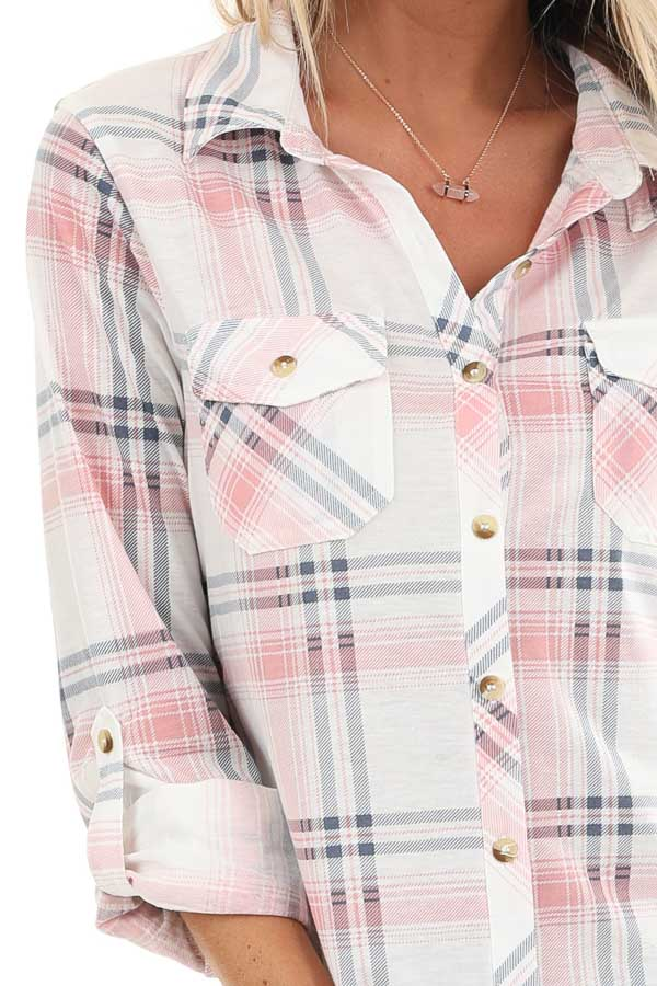 Blush Pink Plaid Button Up Top with Chest Pockets detail