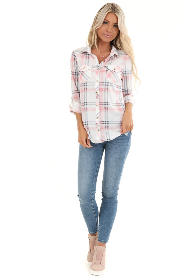 Blush Pink Plaid Button Up Top with Chest Pockets front full body