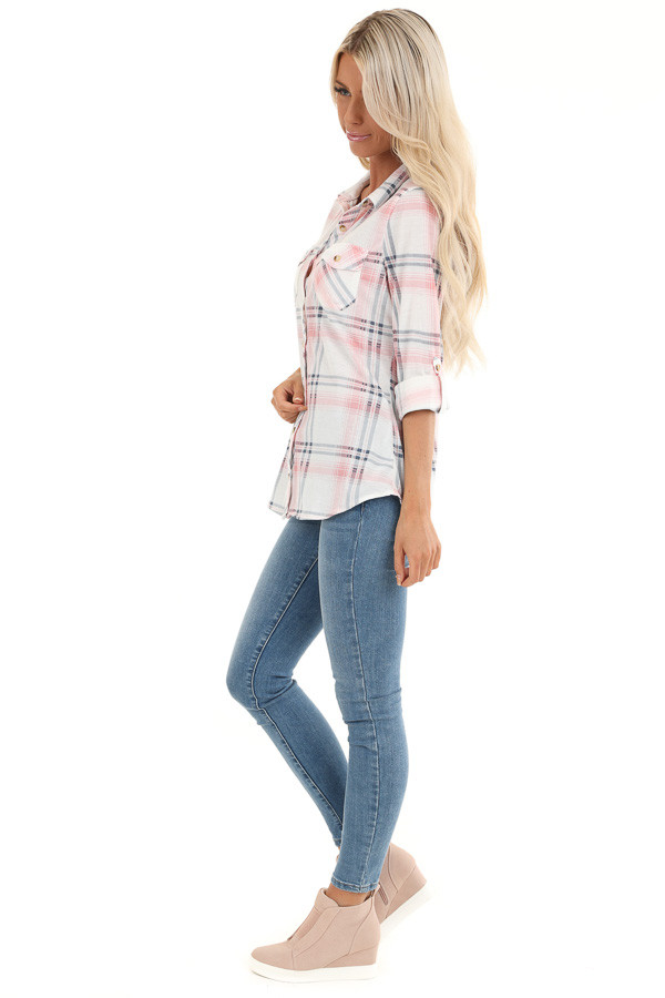 Blush Pink Plaid Button Up Top with Chest Pockets side full body