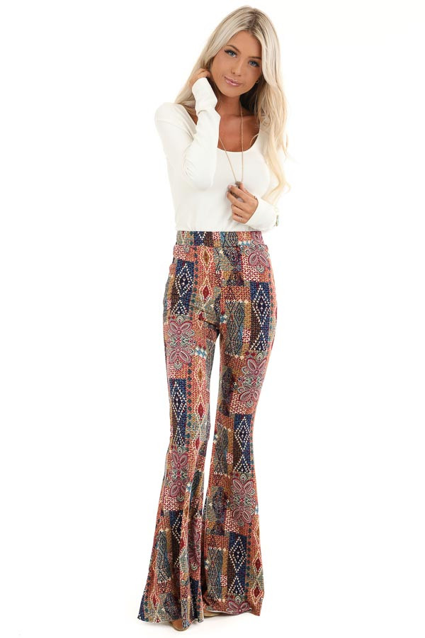 Multi Colored Printed Bell Bottom Stretchy Pants front full body