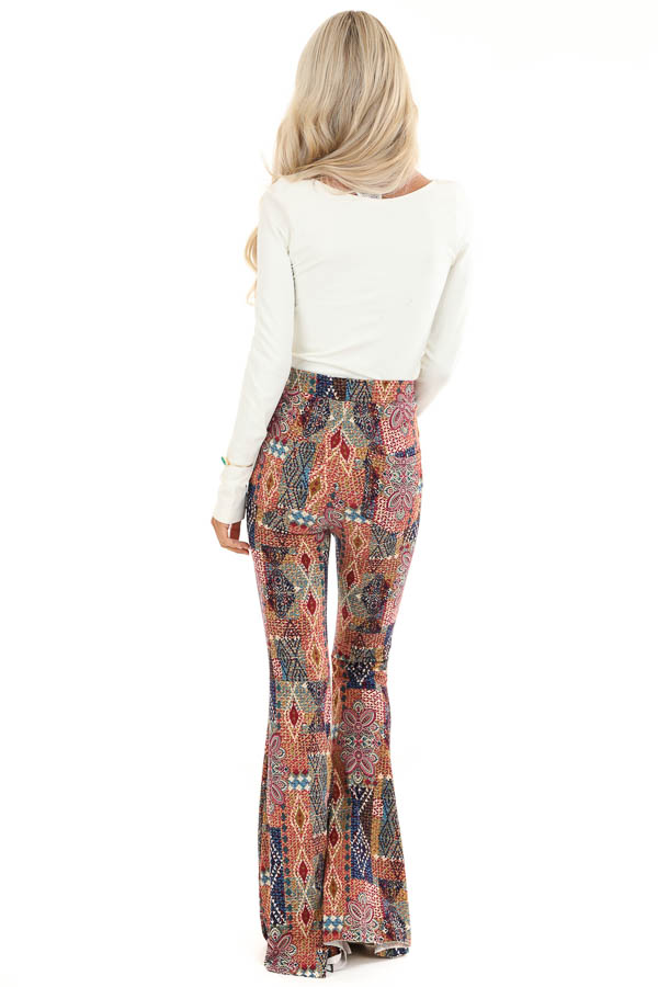 Multi Colored Printed Bell Bottom Stretchy Pants back full body