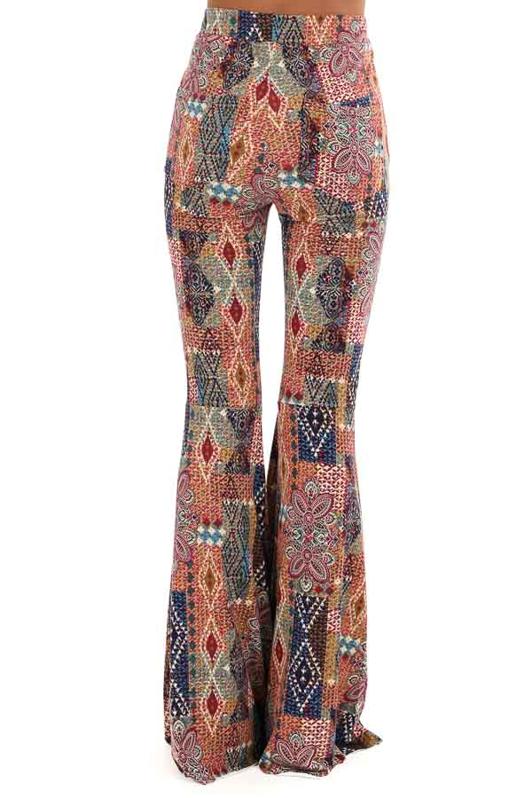 Multi Colored Printed Bell Bottom Stretchy Pants back view