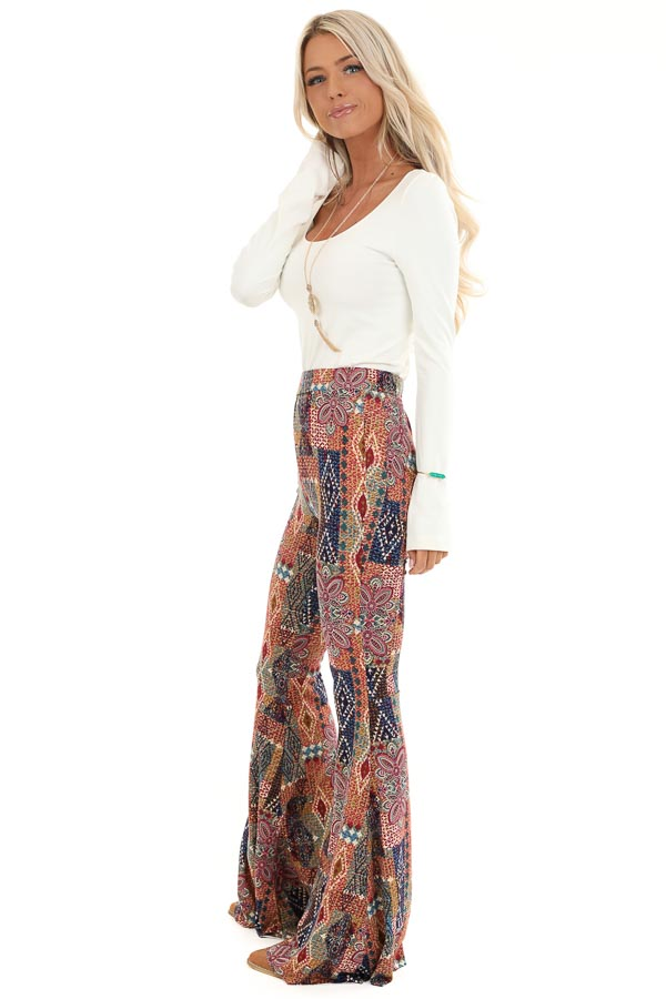Multi Colored Printed Bell Bottom Stretchy Pants side full body