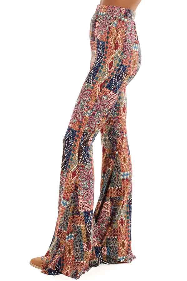 Multi Colored Printed Bell Bottom Stretchy Pants side view