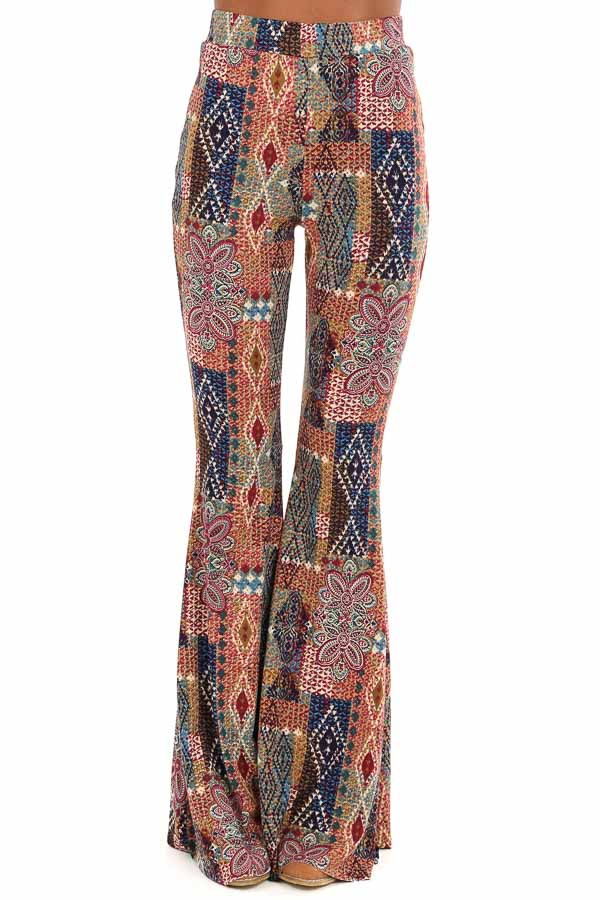 Multi Colored Printed Bell Bottom Stretchy Pants front view