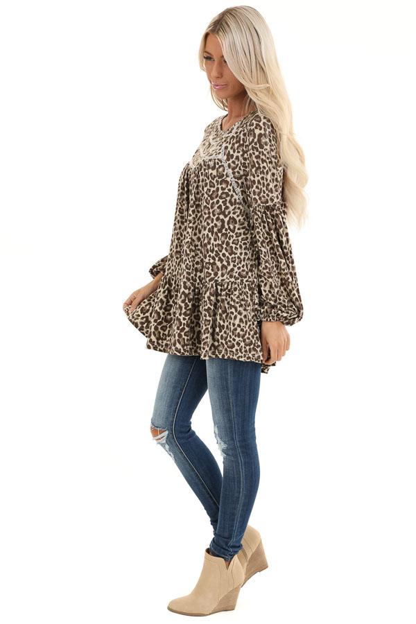 Cream Leopard Print Long Sleeve Top with Crochet Detail side full body