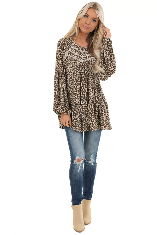 Cream Leopard Print Long Sleeve Top with Crochet Detail front full body