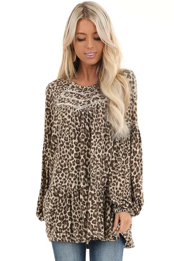 Cream Leopard Print Long Sleeve Top with Crochet Detail front close up