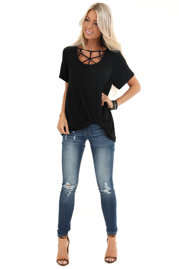 Raven Black Knit Top with Cage Neck and Front Twist Detail front full body