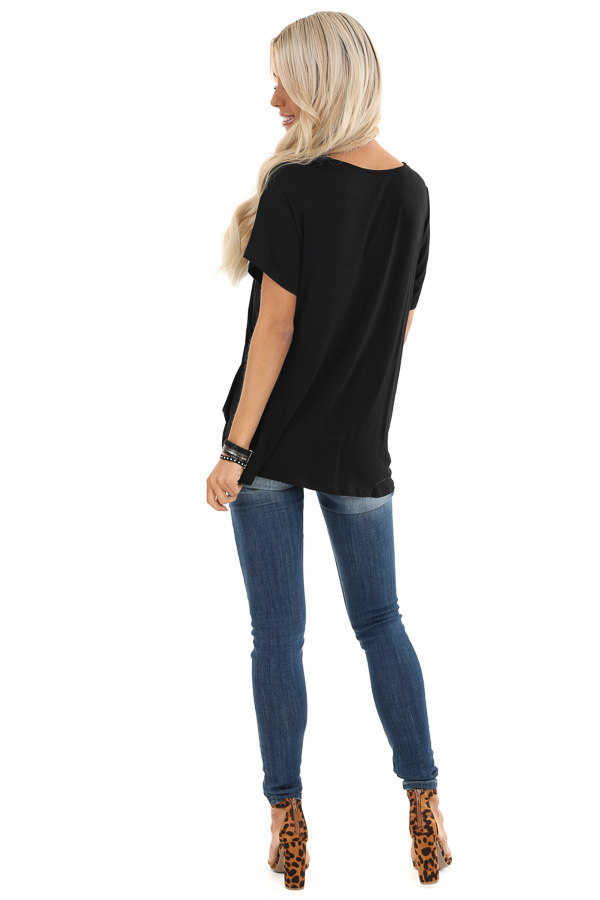Raven Black Knit Top with Cage Neck and Front Twist Detail back full body
