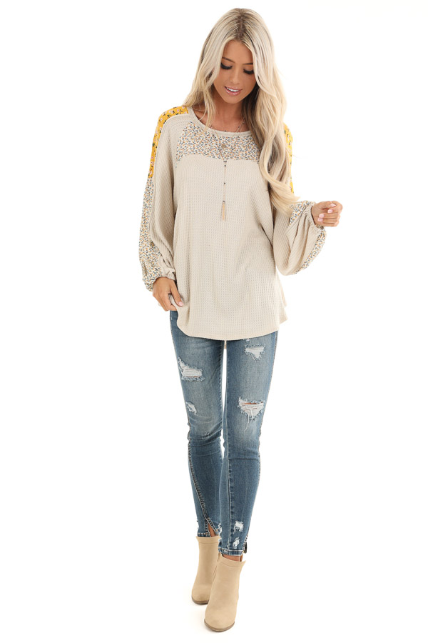 Buttermilk Floral Knit Top with Long Bubble Sleeves front full body
