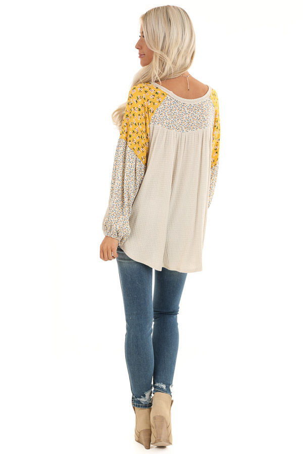 Buttermilk Floral Knit Top with Long Bubble Sleeves back full body