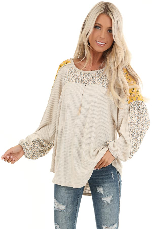 Buttermilk Floral Knit Top with Long Bubble Sleeves front close up