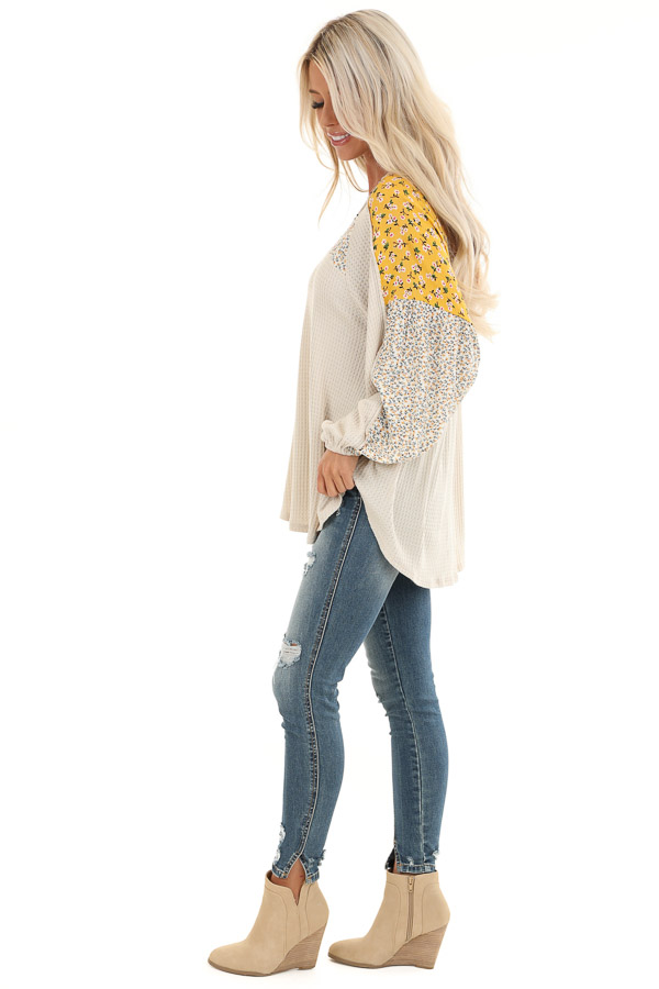 Buttermilk Floral Knit Top with Long Bubble Sleeves side full body