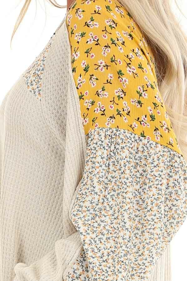 Buttermilk Floral Knit Top with Long Bubble Sleeves detail