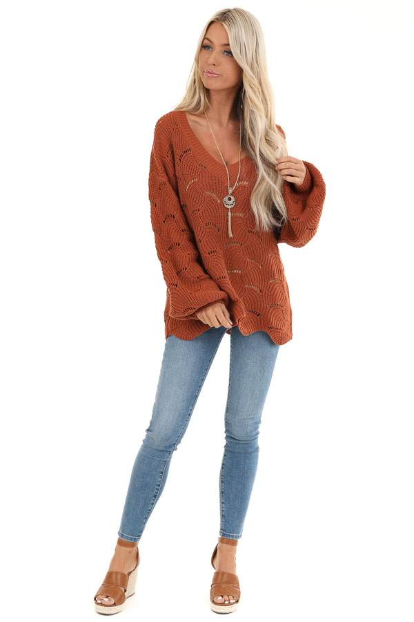 Pumpkin Spice Scalloped Knit Sweater with Cutout Details front full body