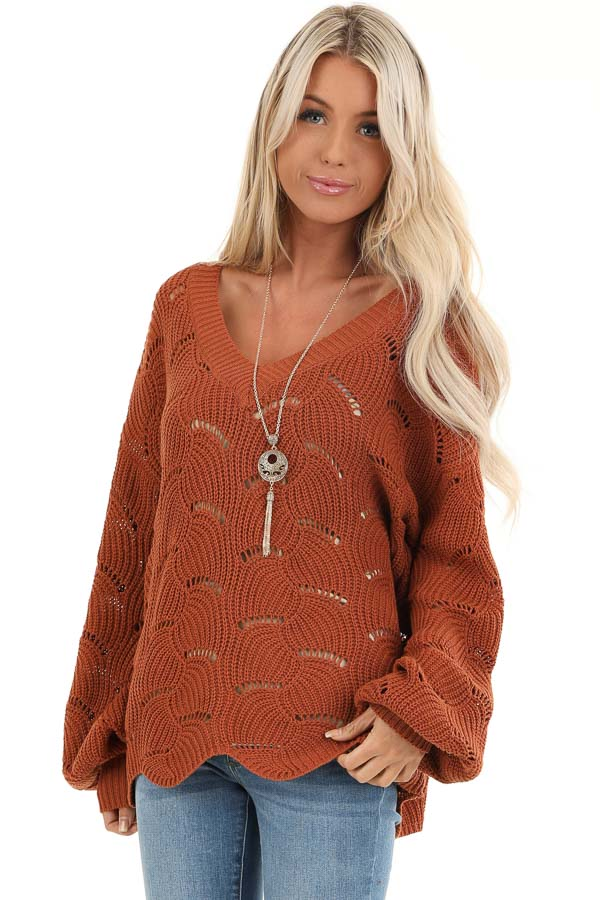 Pumpkin Spice Scalloped Knit Sweater with Cutout Details front close up