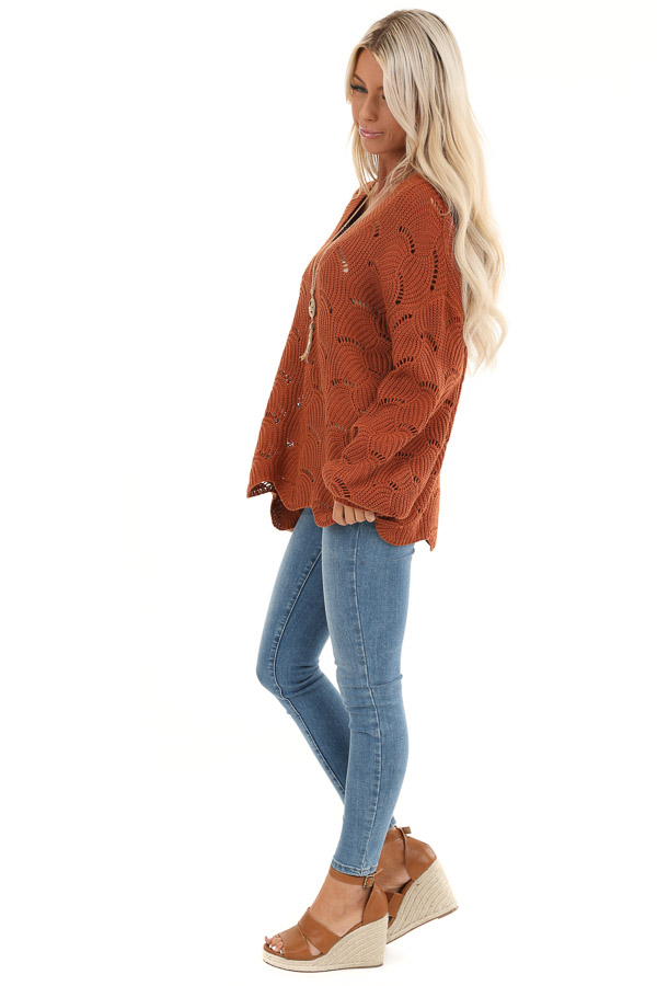 Pumpkin Spice Scalloped Knit Sweater with Cutout Details side full body
