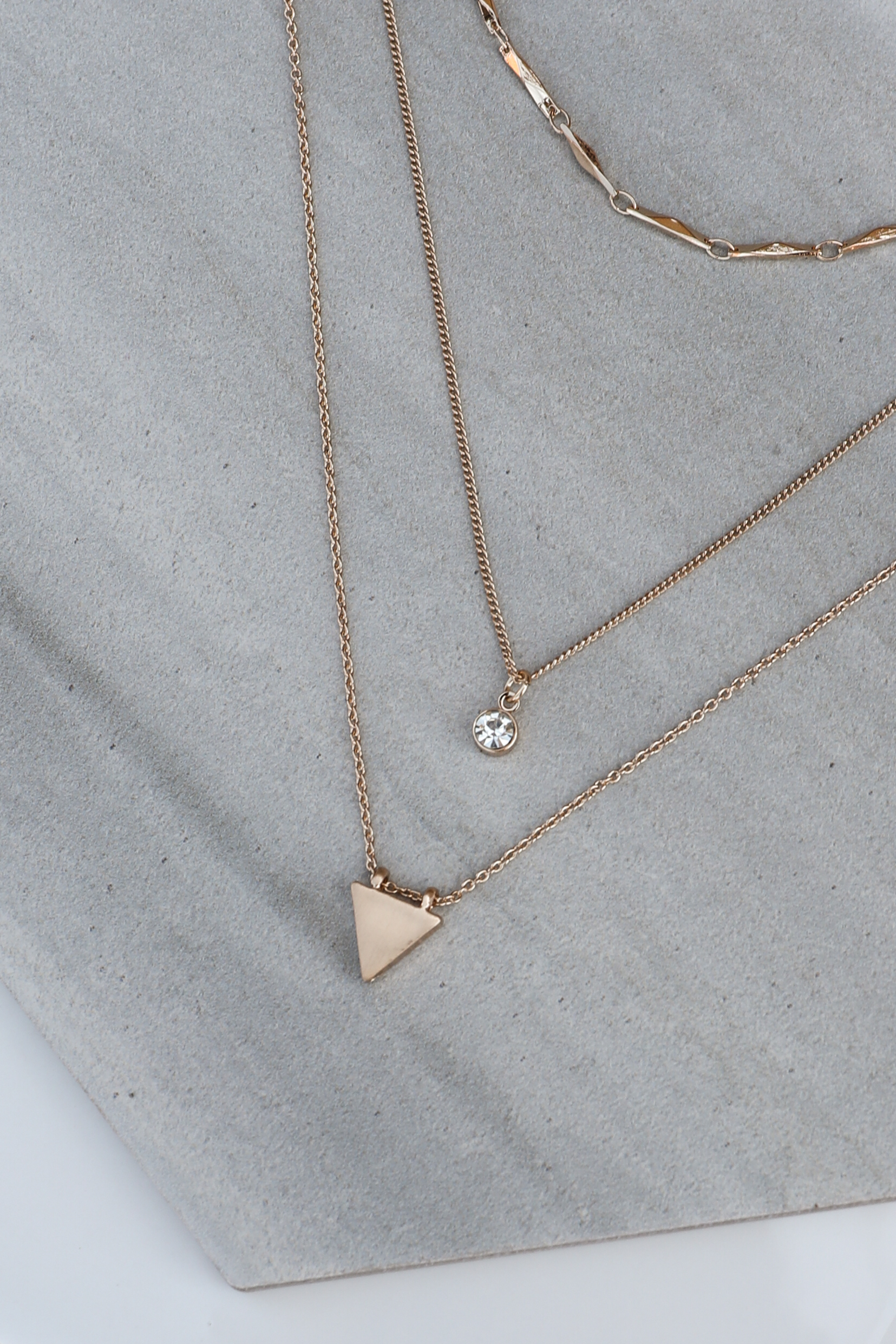 Gold Layered Necklace Set with Triangle and Diamond Pendants