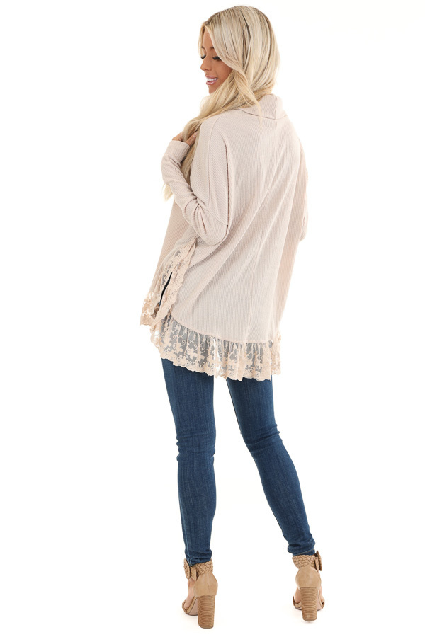 Sand Long Sleeve Top with Cowl Neckline and Lace Hemline back full body
