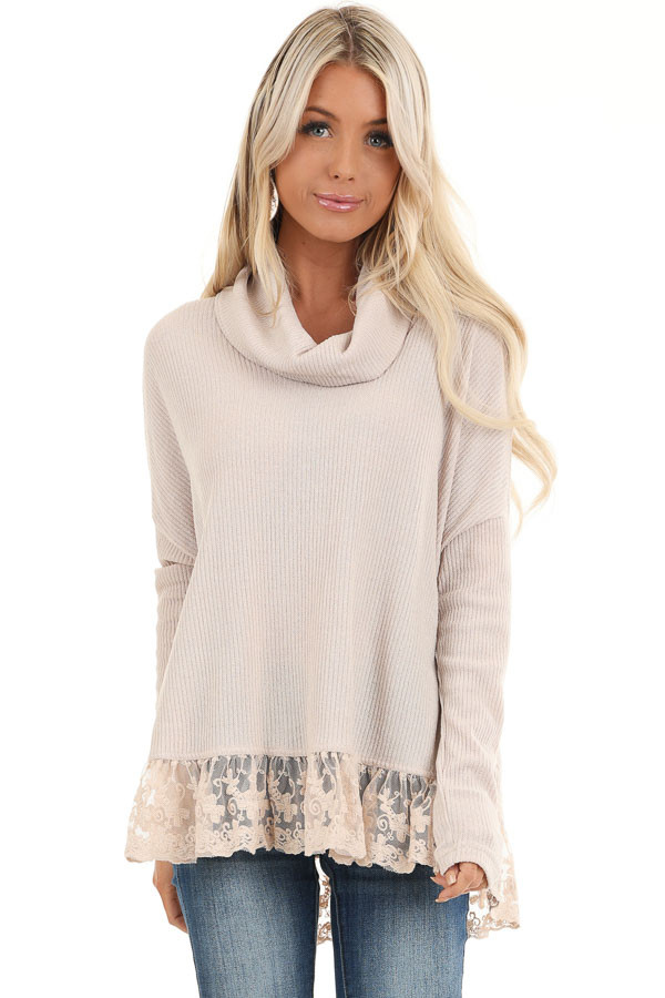 Sand Long Sleeve Top with Cowl Neckline and Lace Hemline front close up