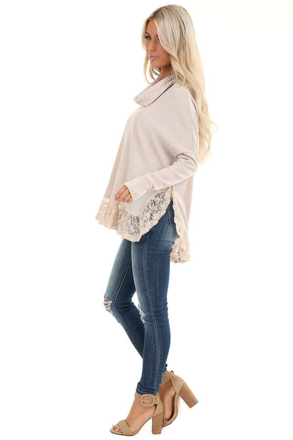 Sand Long Sleeve Top with Cowl Neckline and Lace Hemline side full body