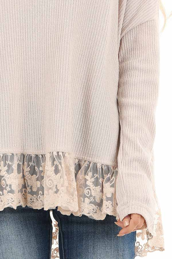 Sand Long Sleeve Top with Cowl Neckline and Lace Hemline detail