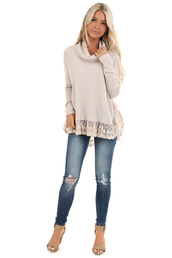 Sand Long Sleeve Top with Cowl Neckline and Lace Hemline front full body