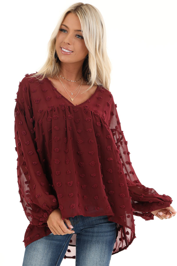 Burgundy V Neck Slightly Sheer Blouse with Long Sleeves front close up