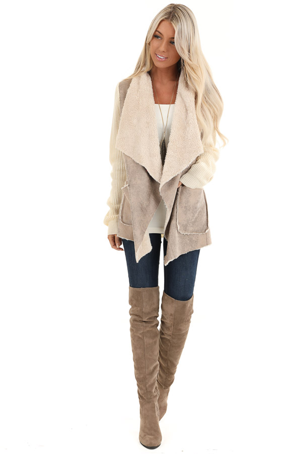 Taupe Faux Suede Draped Jacket with Cream Faux Fur Lining front full body
