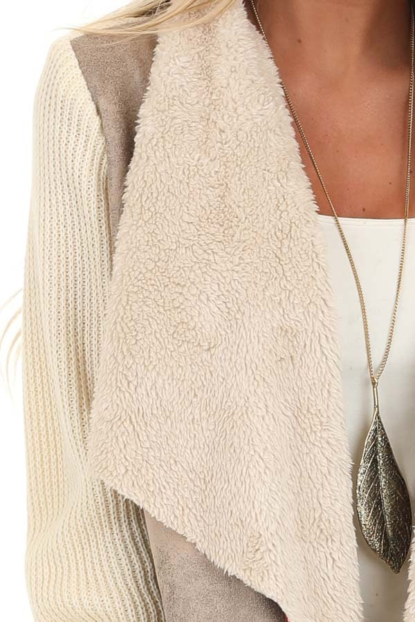 Taupe Faux Suede Draped Jacket with Cream Faux Fur Lining detail