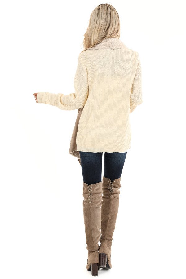 Taupe Faux Suede Draped Jacket with Cream Faux Fur Lining back full body