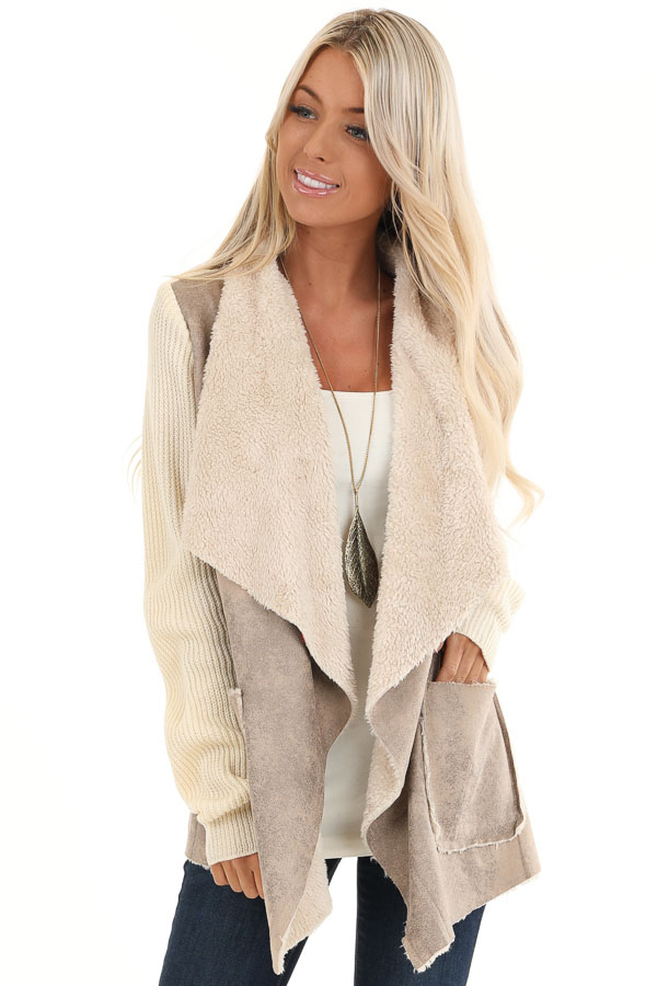 Taupe Faux Suede Draped Jacket with Cream Faux Fur Lining front close up