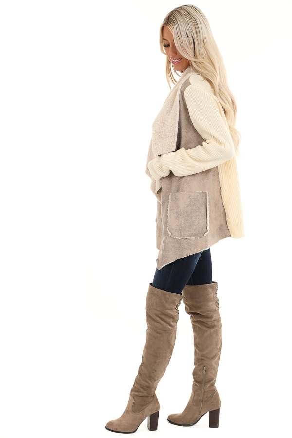 Taupe Faux Suede Draped Jacket with Cream Faux Fur Lining side full body