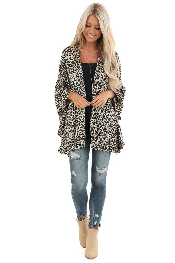Taupe Leopard Print Open Front Kimono front full body