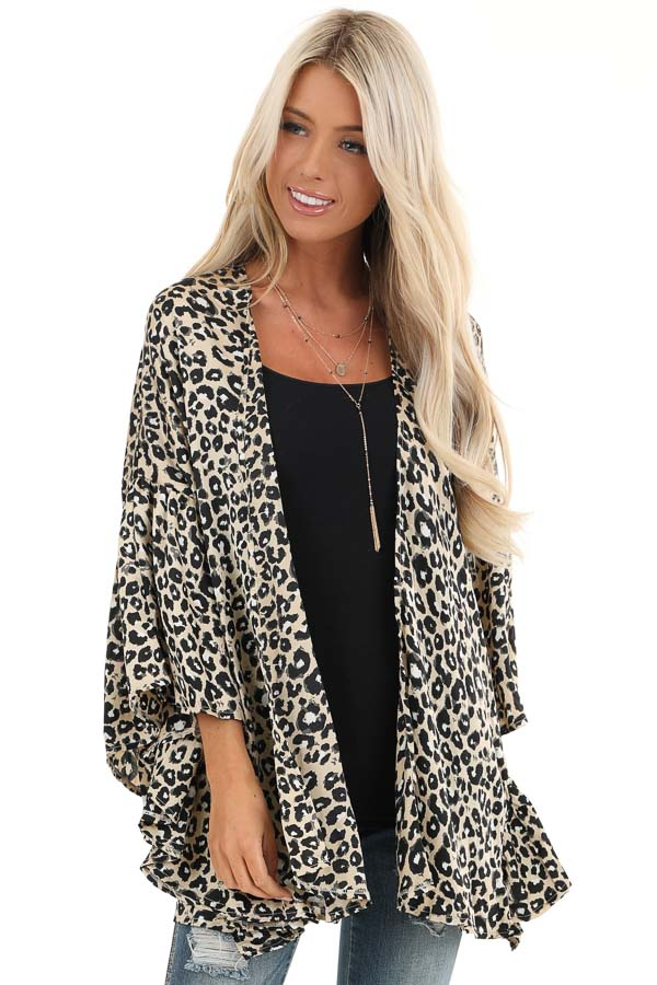 Taupe Leopard Print Open Front Kimono front close up