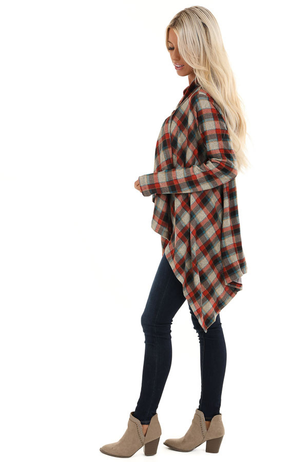 Ruby Red Plaid Draped Cardigan with Button Closure at Collar side full body