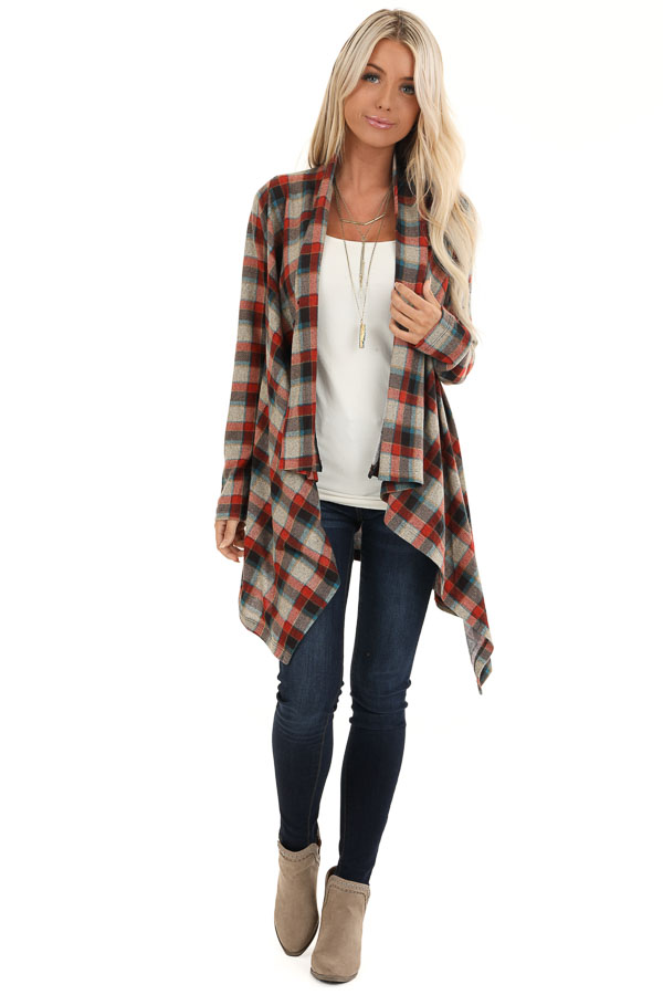 Ruby Red Plaid Draped Cardigan with Button Closure at Collar front full body
