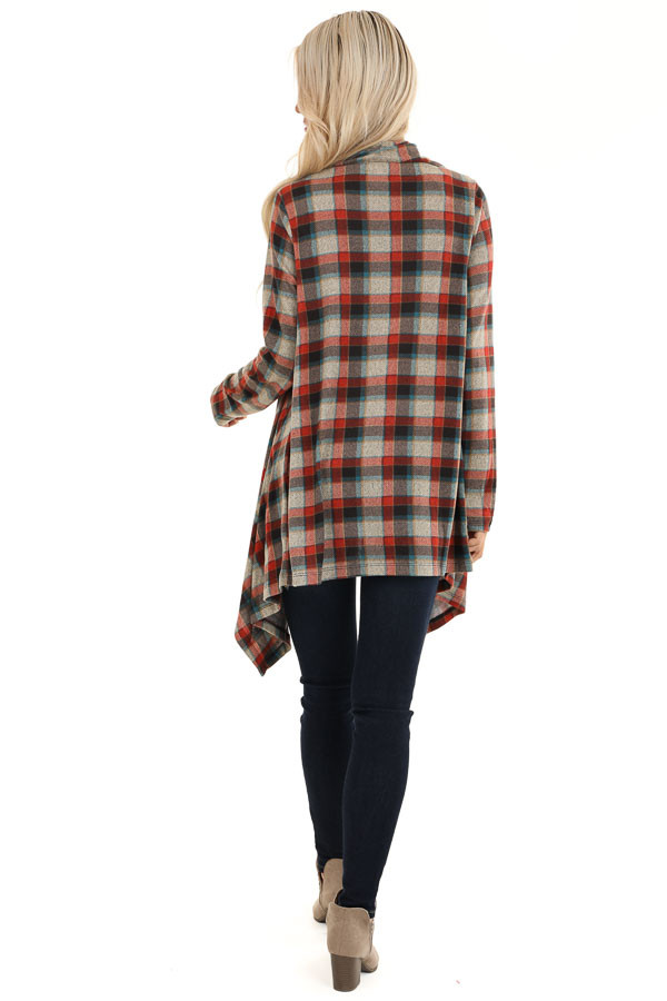 Ruby Red Plaid Draped Cardigan with Button Closure at Collar back full body